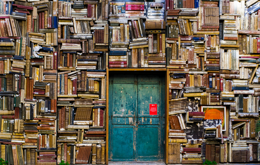 Image of books and a door